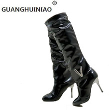 2017 new during the spring and autumn winter selling foreign trade leisure PU boots with high heel boots size code ladies boots