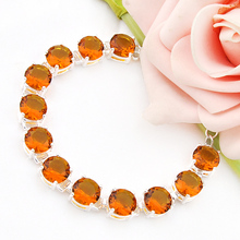 new brand fashion pulseiras femininas silver plated minecraft bracelets for women orange created crystal loom rubber bands(China)