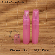 50pcs/lot Promotion 5ml PP Plastic Pink Spray Bottle 1/6OZ Small Refillable Women Parfum Cosmetic Container Perfume Packaging