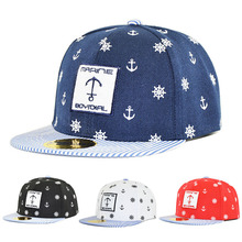 Fashion Children Snapback Sailor Embroidery Boys Baseball Cap Kids Bone Hat Girls 3-10 Years Flat Hip Hop Child Cap(China)