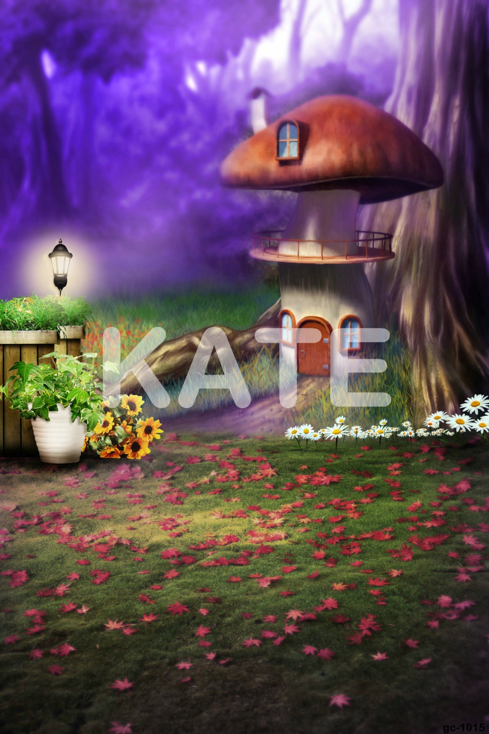 Kate 10x10ft Mushroom Backdrop Fairy Tale Forests Spring Background Scenery Background for Children Photography Shoot<br>