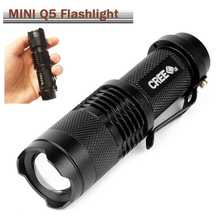 Handheld Flashlight!  2017 Black Portable LED Flashlight Torch Light with CREE Q5 2000LM 3Modes Zoomable Waterproof ,For camping