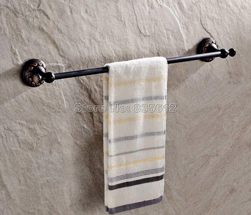 Black Oil Rubbed Bronze Wall Mounted Bathroom Single Bar Towel Holders Wba461<br>
