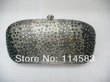 7763 Crystal BLACK in gradual change effect Wedding Bridal Party Night Metal Evening purse clutch bag handbag