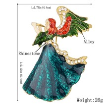 Vintage Music angle brooch Enamel Rhinestone brooch pins for women girl dress Accessories(China)