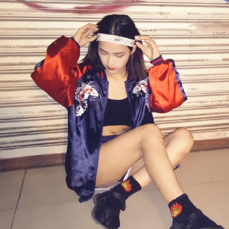 2018 Fashion Womens Satin Embroidered Bomber Women Coat Baseball Floral Jacket