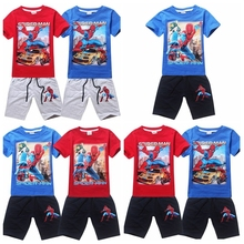 2015 Hot boys summer leisure clothing set kids spiderman printed t-shirt+pants suits children's sports clothing in stock