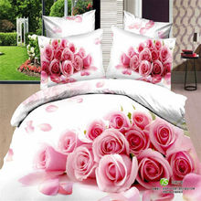 Home Textiles 100% Cotton 3D Bedclothes 4pcs Bedding Sets  King Or Queen Pink Rose Flower
