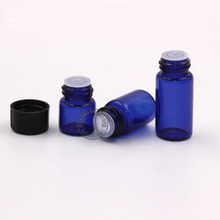 50pcs/lot 1ml,2ml 3ml empty essential oil bottle mini glass essential oil dropper bottle blue glass bottle with black cap(China)