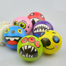 Cute Hand Wrist Exercise PU Rubber Toy Balls 6.3cm Face Print Sponge Foam Ball Squeeze Stress Ball Relief Toy 1PCS