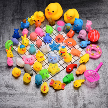 28pcs/lot Duck Baby Bath Toys Rubber Ducky Cute Animal Duckling Fish Water Toys Hippo Starfish Dog Turtles Dolphin Monkey Pig