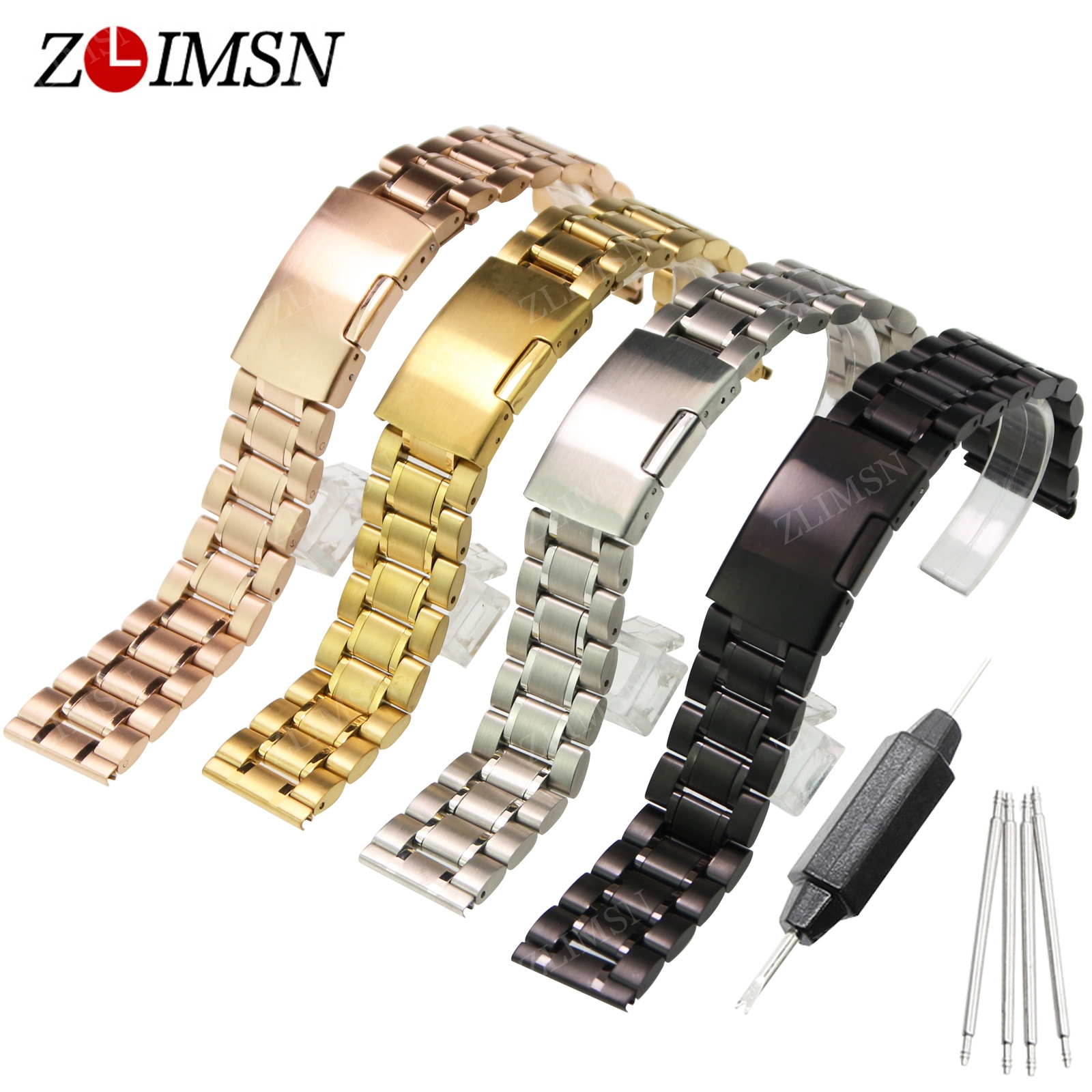 ZLIMSN Solid SS Silver Gold Watchbands Mens Two Tone Watch Band Bracelets Relojes Hombre 2017 18mm 20 22 24 26mm Relogio<br><br>Aliexpress
