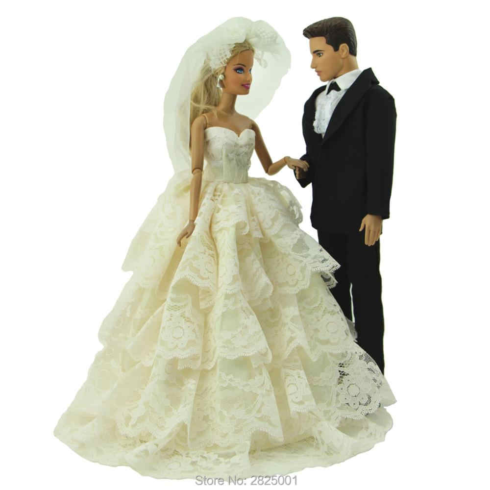 Detail Feedback Questions about Handmade 2 Sets Outfits Princess Wedding  Party Beige Lace Dress Black Formal Suit Clothes For Barbie Ken Doll  Accessories ... 3de31ed6acd4