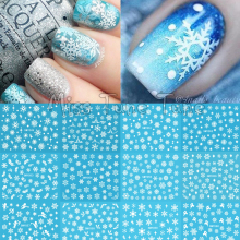 Christmas Snowflake Snow Styles Large 3D Nail Art Nail Stickers Decal Tips White Xmas Reindeer Feather Self-adhesive(China)