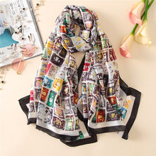 Top grade Luxury brand New Europe Style Bag pattern printing Women Summer silk Scarf elegant Fashion Fall warm Sunscreen Shawl