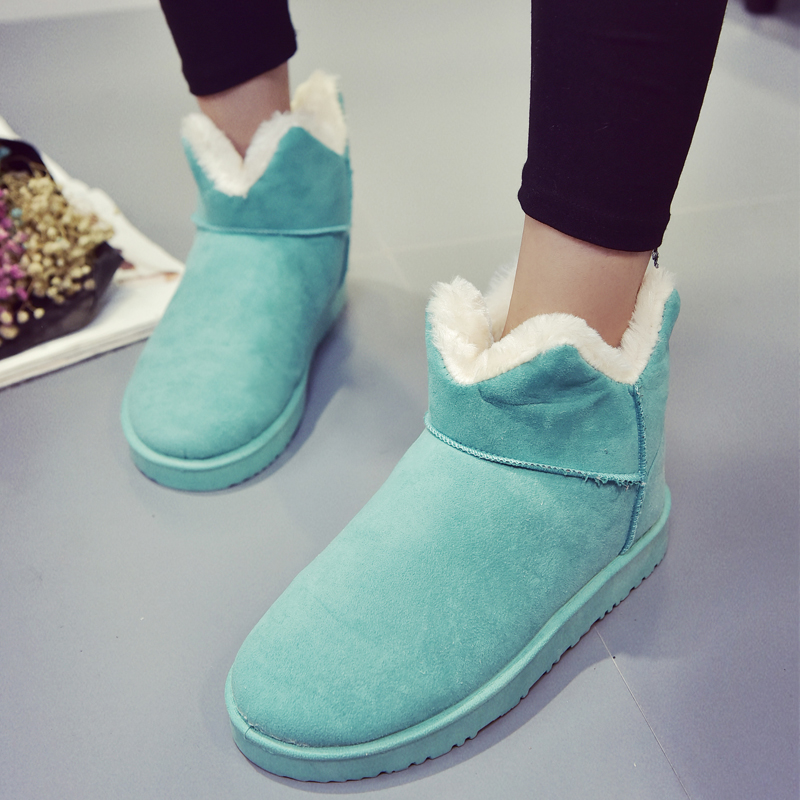 Fashion Women Thicked Fur Warm Slip on Snow Boots Winter Casual Flats Cotton Shoes Nubuck Leather Platform Woman Ankle Boots<br><br>Aliexpress