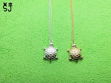 1PCS- N082 Fashion Tiny Sea Turtle Charm Necklace Dainty Tortoise Necklaces Lucky Bone Turtle Necklaces for Beach Party