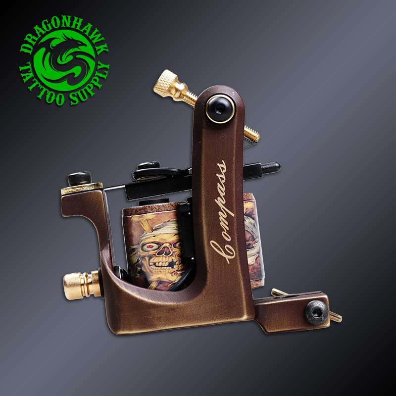 Professional Pure Copper Tattoo Machine Whole Wire Cutting Machine Handmade 10 Wraps Coil Tattoo Gun Shader<br>