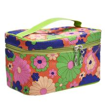 2017 New Fashion Women Ladiy PU Leather Cosmetic Bag Flower Print Travel Makeup Toiletries Bags 4Colors