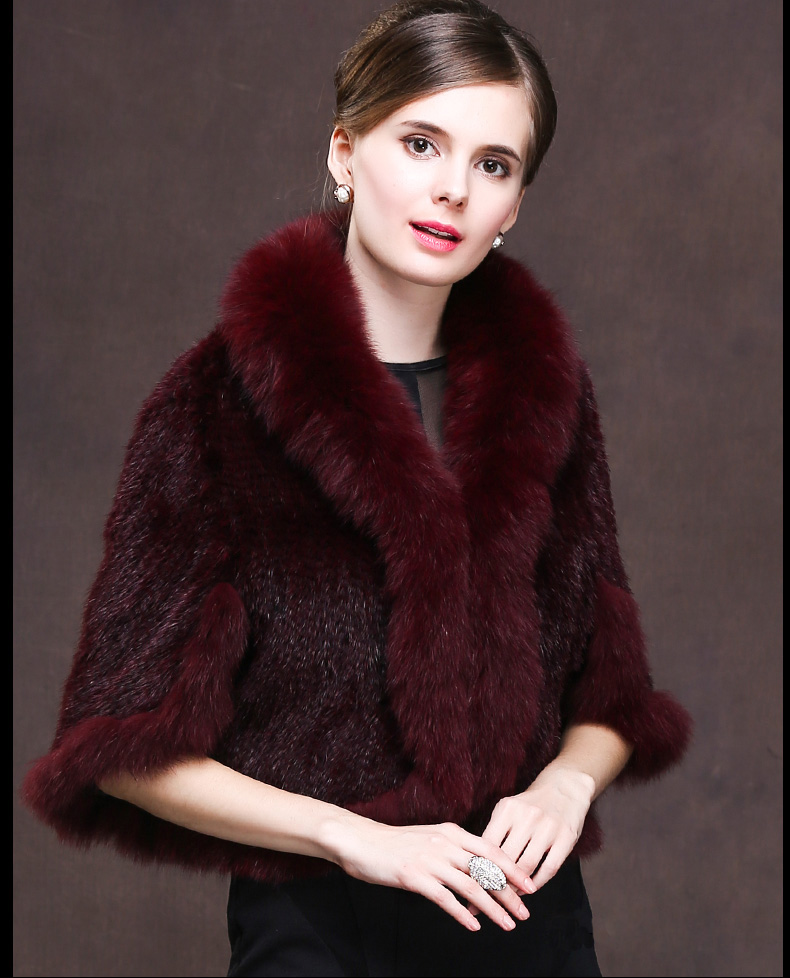 Winter Shawl Wrap Poncho Real Knit Mink Fur shawl With Fox Trimming Real fur Jacket coats party 2017 new (26)