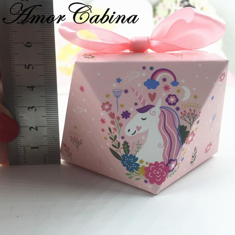 50pcs Diamond Shaped Unicorn Wedding Candy Box Bomboniera Party Baby