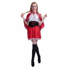 Red Riding Hood Carnival Costume Dress And Cloak Set Ladies Movie & TV Party Anime Women Halloween Costumes 2017 Adult Costume