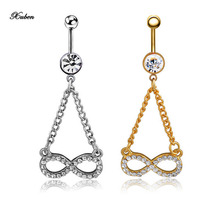 Number 8 Dangle Ring New Brand fashion stainless steel Umbilical nail Piercing belly Button  ring nombril Body Jewelry for women