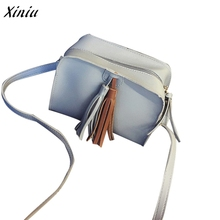 Fashion Women Soft Cover Messenger Bags Tassel PU leather Solid Zipper Leadies Handbag Shoulder Bag Flap Coin phone Shoulderbags(China)