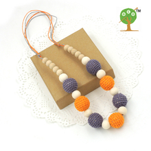 2017 New Chunky crochet bead wooden beads teether , Grey and orange color nursing necklace NWr1410