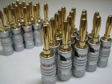 10pcs/lot New High quality 24K Gold Nakamichi Speaker Banana Plugs pure copper Audio Jack Connector Free Drop Shipping(China)