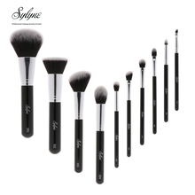 Sylyne professional makeup brush set high quality 10pcs makeup brushes classic black handle soft hair make up brushes kit tools.