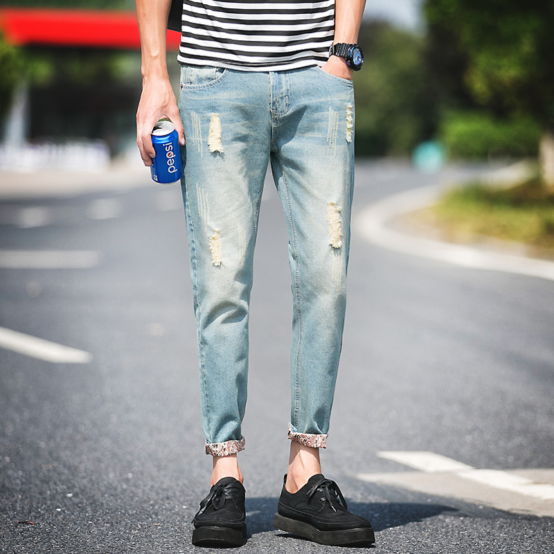 2017 Men Feet Slim Fit Pants Youth European Version Of The Hole In Blue Of Thin Section Long Section Jeans plus size 28-38Одежда и ак�е��уары<br><br><br>Aliexpress