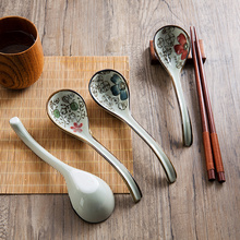 1pc Household Japanese Style Spoon Ceramic Long Handle Spoon Creative Kitchen Cutlery Mixing Spoon(China)