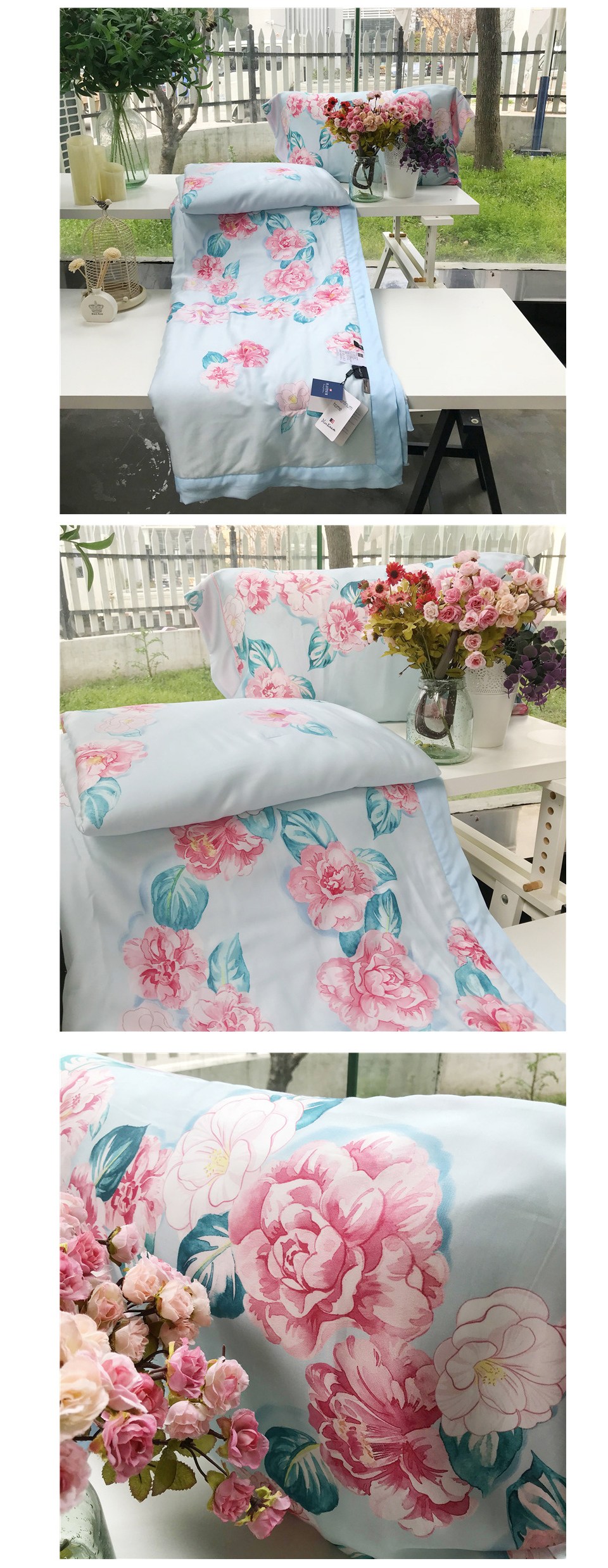 2018 summer comforter bedding set queen size 60s exquisite tencel cotton quilt lyocell fiber bed quilted pastoral flower printing process quilts 9