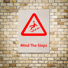 Warning Sign Stickers Mind The Steps The People Walk The Stairs Be Careful Of The Steps Reflective Vinyl Stickers 1PC 15x20 CM
