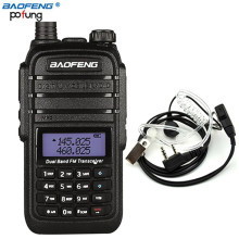 8W High Power DC7.4V 4800mAh Li-ion Battery 10 km Baofeng UV-B9 Walkie Talkie Dual Band Two Way Radio+ Air Acoustic Tube Headset