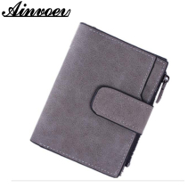 Lady Snap Fastener Zipper Short Clutch Wallet Solid Vintage Matte Women Wallet Fashion Small Female Purse pattern random hl8441