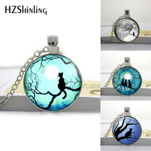 HZShinling Pendant Glass Cabochon Blue Moon and Cat Glass Necklace Galaxy Pendant Round Glass Necklace Tree Pendant HZ1(China)