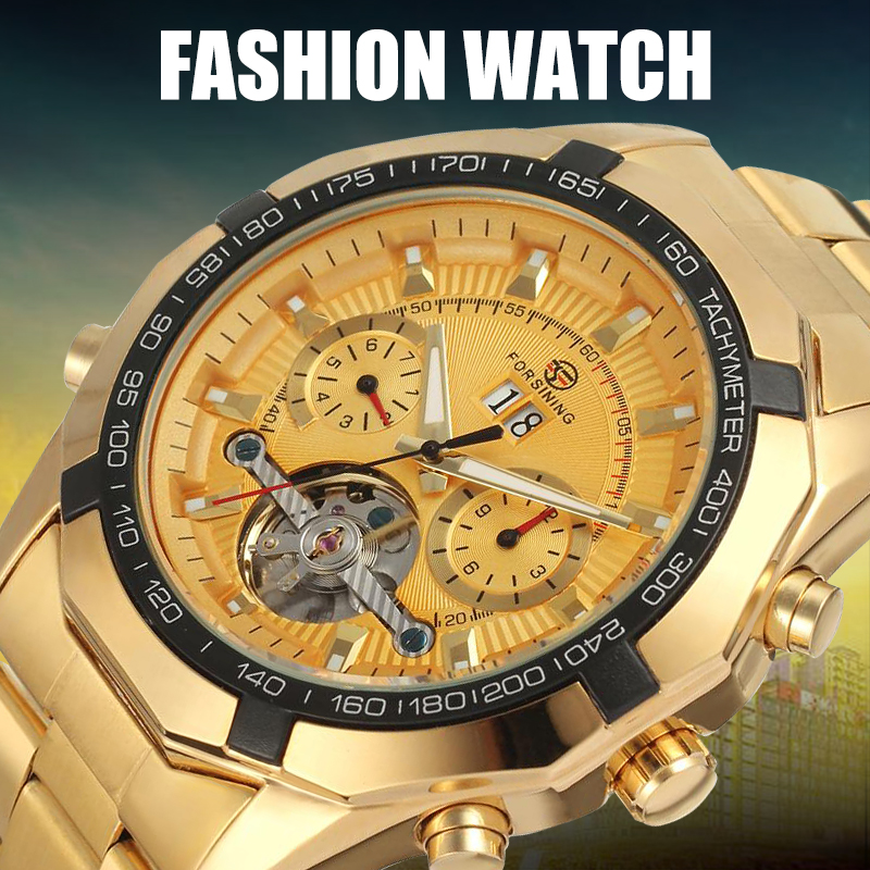 FORSINING Mens Watch Fashion Automatic Stainless Steel Bracelet Watches Waterproof Dress Wristwatch<br>