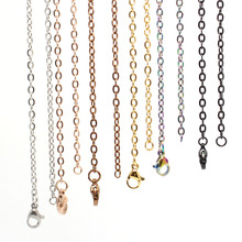 18'' 20'' 24'' 28'' 32'' 2.5mm silver/ gold/ rose gold/black 316 Stainless Steel Cable Chain Pendant Necklace(China)