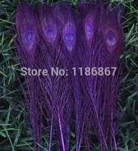 Free shipping dark purple dyed peacock feather 100pcs/lot length 25- 30 cm 10-12 inch peacock wedding decoration for party decor