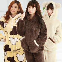 XXXL Autumn Winter Women pijama cute thick wool plush pajamas polar bear fleece thermal pyjamas couple pajama sets women and men(China)