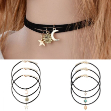 LNRRABC Fashion 3 Pcs/set Harajuku Retro Black Ribbon Velvet Choker Necklace Sun&Moon&Star Jewelry Gift 2 Style