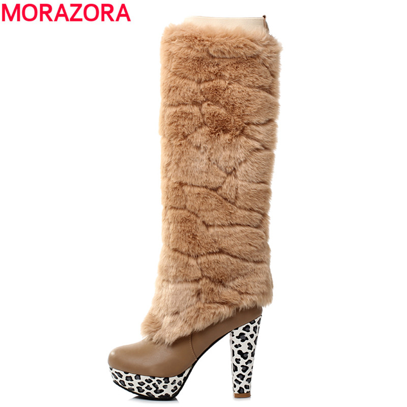 MORAZORA Plus size 43 fashion new arrival Winter Knee High Women Boots Black White heels Long boots fur Snow shoes<br>