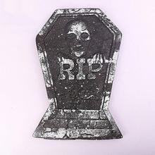 Halloween Decoration Gravestone Scarf Black Tombstones Prop for Home Halloween Party Decoration Ornaments 38*26.5cm