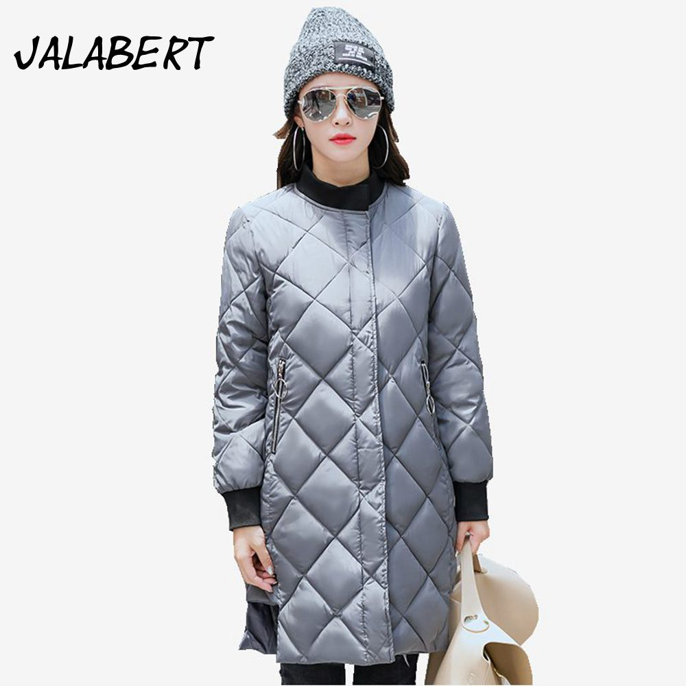 New winter cotton coat womens long Slim Thicker warm jacket female fashion Round neck behind embroidery letter Parkas  Îäåæäà è àêñåññóàðû<br><br>