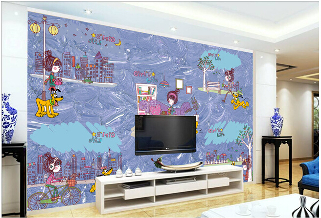 Custom 3D murals,3 d cartoon girl   papel de parede,living room sofa TV wall children bedroom wallpaper<br>
