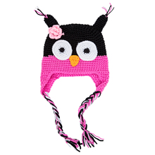 Cute Handmade Newborn Baby Kids Owl Knit Hat Cap Black and Rose Pink