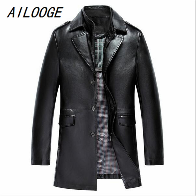 AILOOGE Autumn New Detachable Double Collars Leather Long Jacket Men Black Coffee Colors Excellent Quality Leather Trench Coat