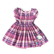 ,6pcs/lot 2-6 yrs little Girl's summer Dress,hello kitty dress,girls kitty plaid dress,HK cotton dress